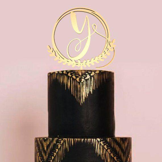 Monogram Rustic Y Letter Wood Cake Topper Natural Wedding Single