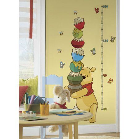 RoomMates Winnie the Pooh and Friends Peel and Stick Metric Growth ...