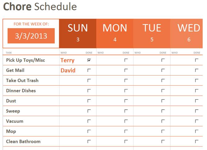 Weekly Chore List Template Template Pinterest – Job Task Template