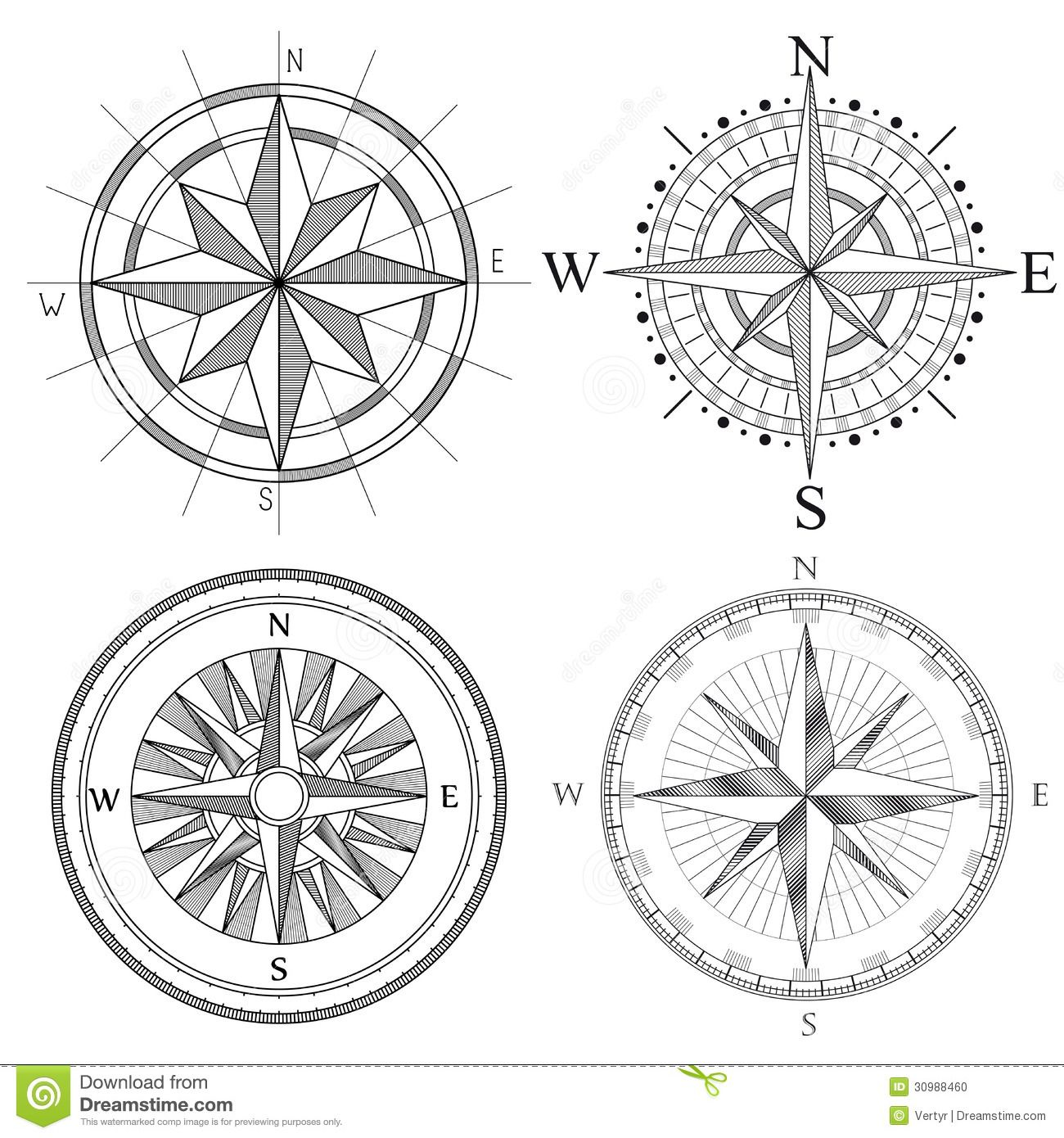 Set Illustration Of Artistic Compass Download From Over