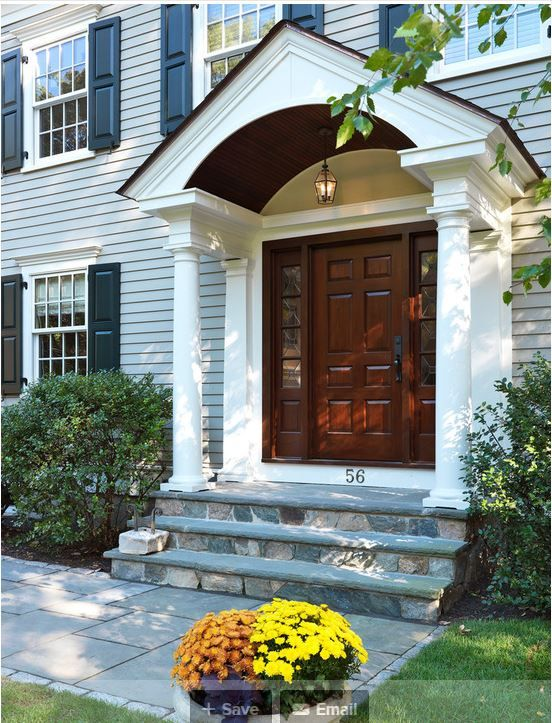 Traditional Exterior Front Porch Design Pictures Remodel Decor And Ideas Soooo Pretty: Nice Traditional Gray With Woodstained Door/sidelights. Pretty Stone Walkway.