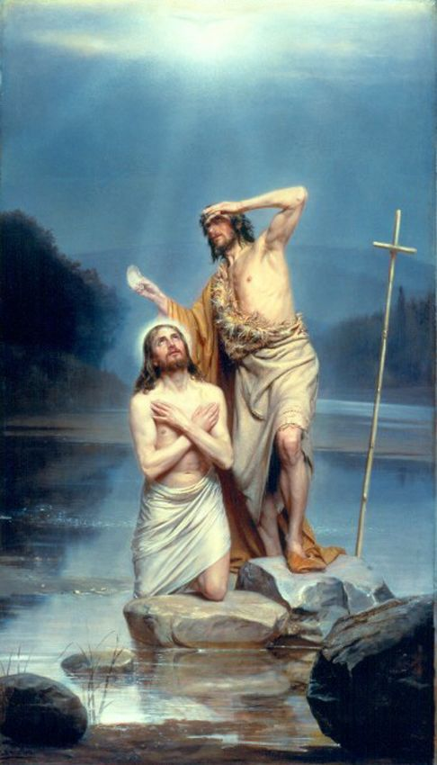 The Baptism of Christ by Carl Heinrich Bloch. Beautiful. (the color printer at work is in trouble. That's probably wrong :(
