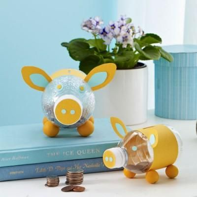Fun back to school craft how to make a piggy bank from a for Plastic bottle piggy bank craft