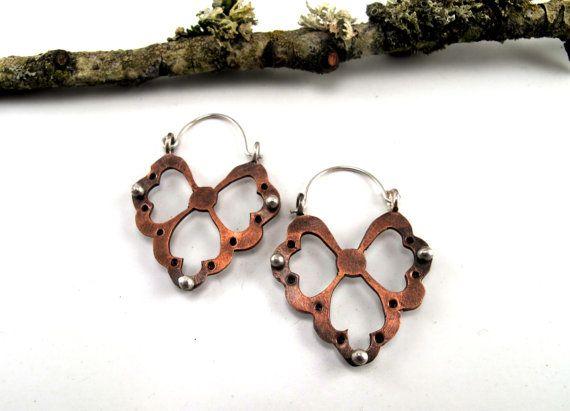 Fancy Copper Hoops Hand Cut Copper and Sterling by rubygirl