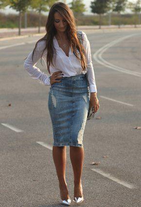 df5e592affa I kinda like this Pencil Skirts, Denim Skirt, Look, Youtube, Fashion,
