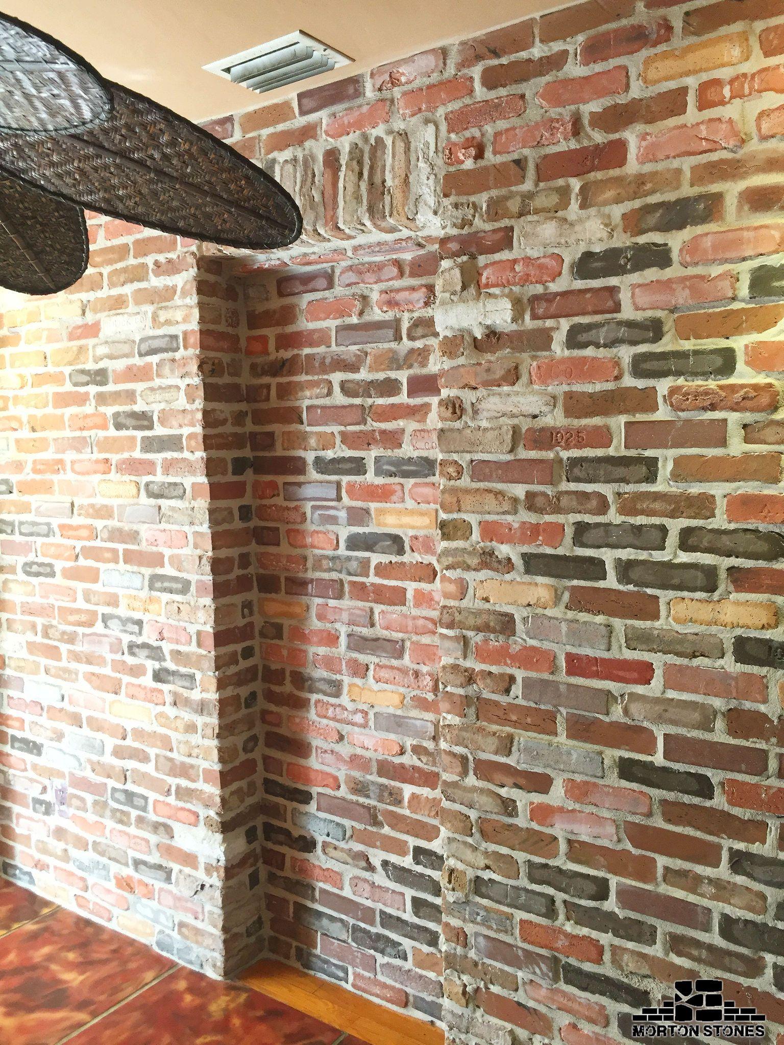 Installing Brick Veneers On A Wall Inside A Home Mortonstones Brick Tiles Rustic Thinbrick Home Decor R Brick Veneer Interior Design Rustic Brick Face