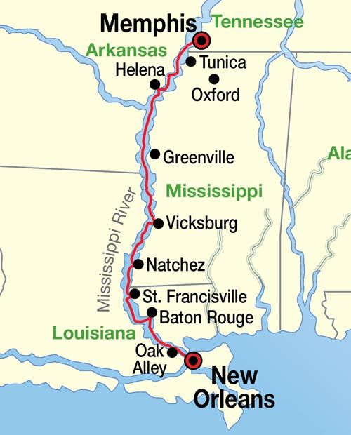 Mississippi River New Orleans To Memphis Cruise Map Places To Go - Mississippi in usa map