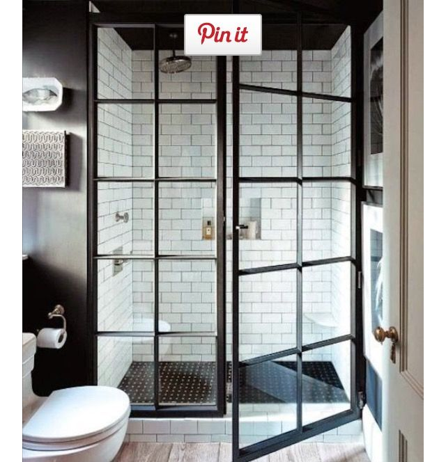 Example Of White Subway Tiles With Black Floor And Grey Grout Different Shower Doors In 2019 Modern Farmhouse Bathroom Shower Doors Modern Farmhouse Design