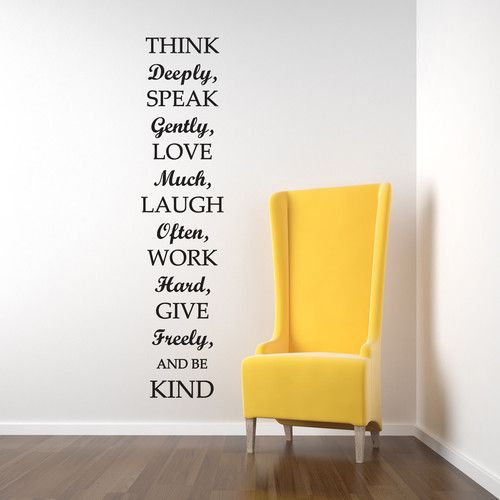 LARGE THINK DEEPLY AND BE KIND WALL STICKER DECAL ART QUOTE HALLWAY ...