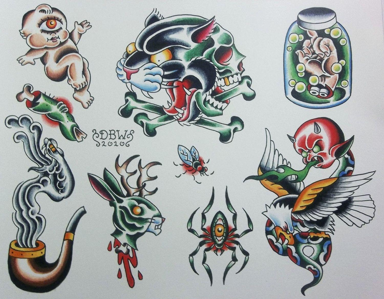 Tato Art Styles: Miscellaneous I Neo-Traditional Tattoo Flash Sheet. $10.00