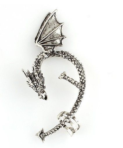 Dragon Cuff Wrap Cubic Zirconia Earrings / Antique Silver Tone / No Piercing Earrings