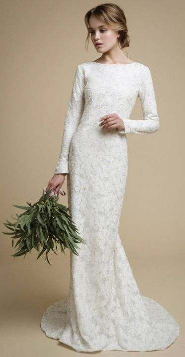 UTTA Long Sleeves Wedding Dress Elegant Tight Fit Mermaid Lace Gown Boho Gold