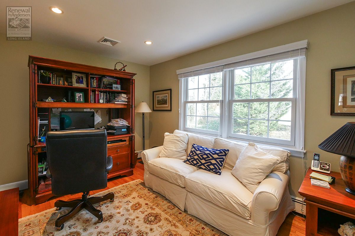 A Comfortable And Casual Home Office And Den Where We Installed Two New Double Hung Windows With Gril Home Remodeling Remodeling Renovation Double Hung Windows