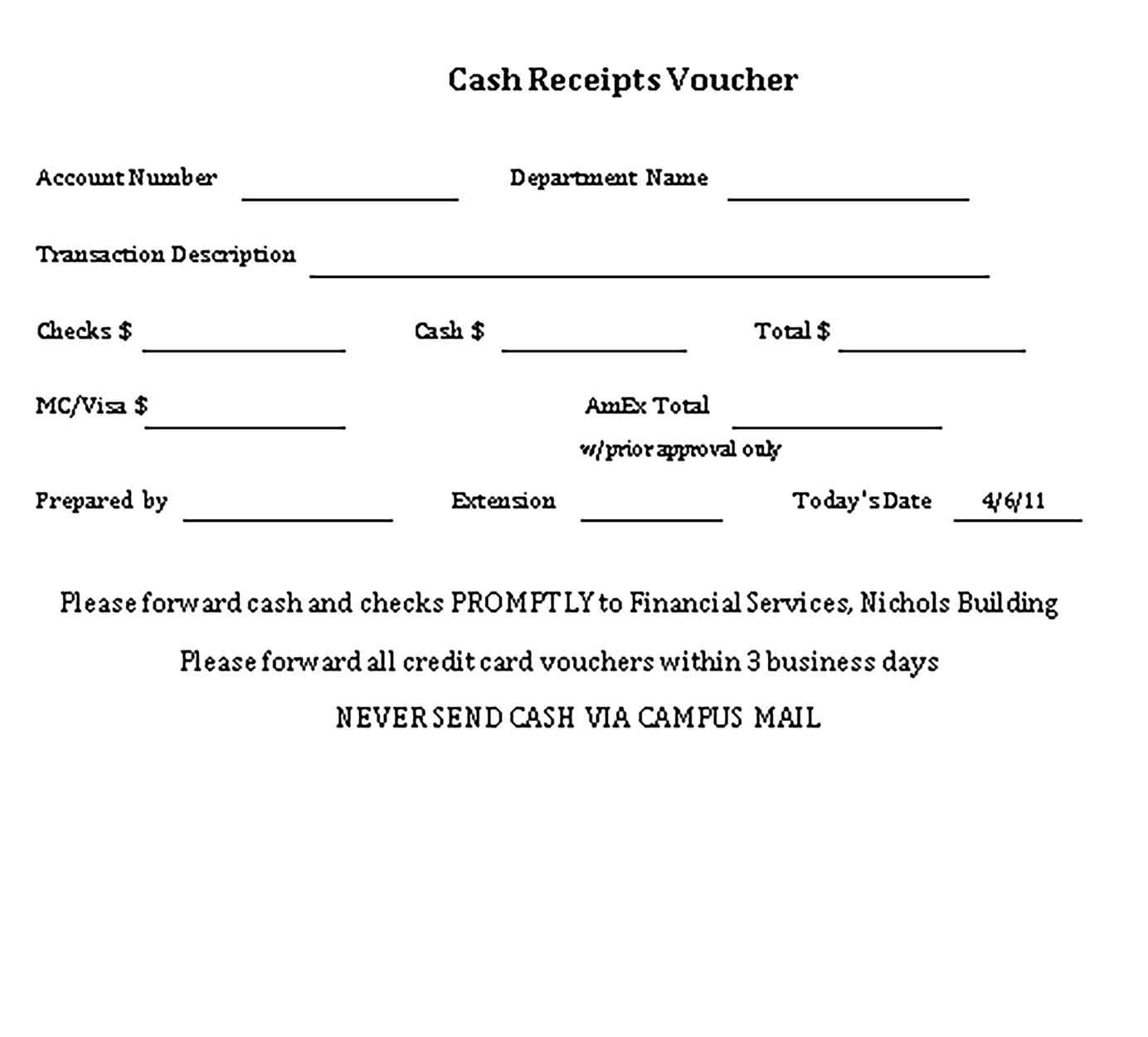 Sample Money Cash Receipt Template