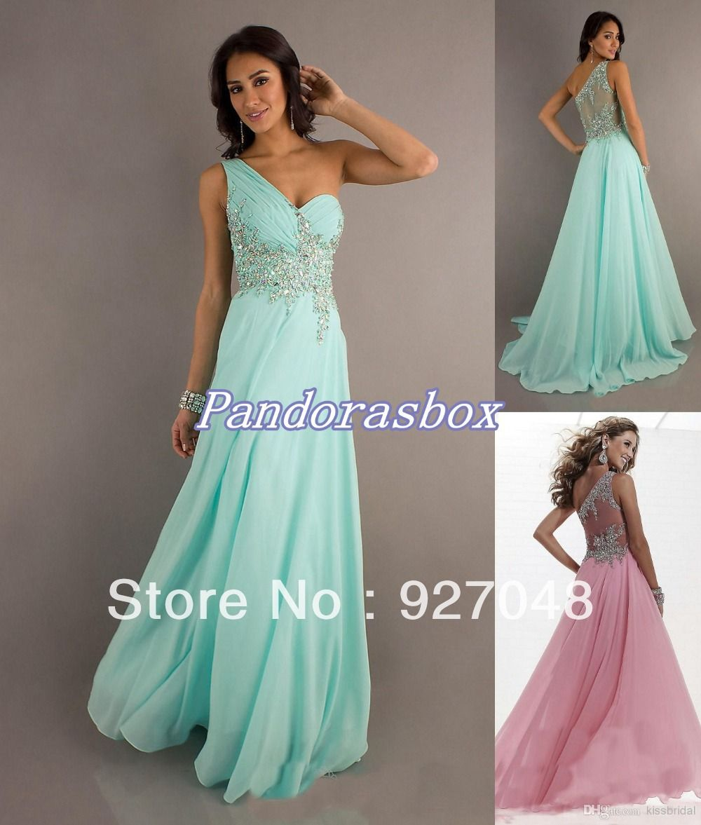 Aliexpress.com : Buy 2014 Exquisite Crystal Beaded Prom Dresses One Shoulder Sheer Back A Line Floor Length Chiffon Evening Pageant Gowns fr...