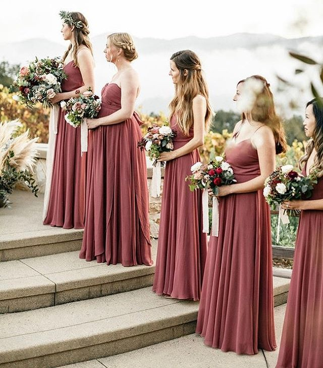 Autumn inspired colors in this romantic Carmel Valley wedding featured on @100 layercake of our Mira + Inesse Dresses in Cinnamon Rose Luxe Chiffon   photo by @taralynnlawtonphoto   venue @holmanranch is part of Gorgeous bridesmaid dresses -
