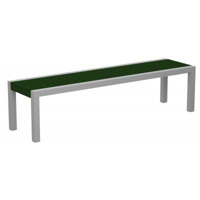 68 Recycled EarthFriendly Outdoor Bench Green with Silver Frame ...