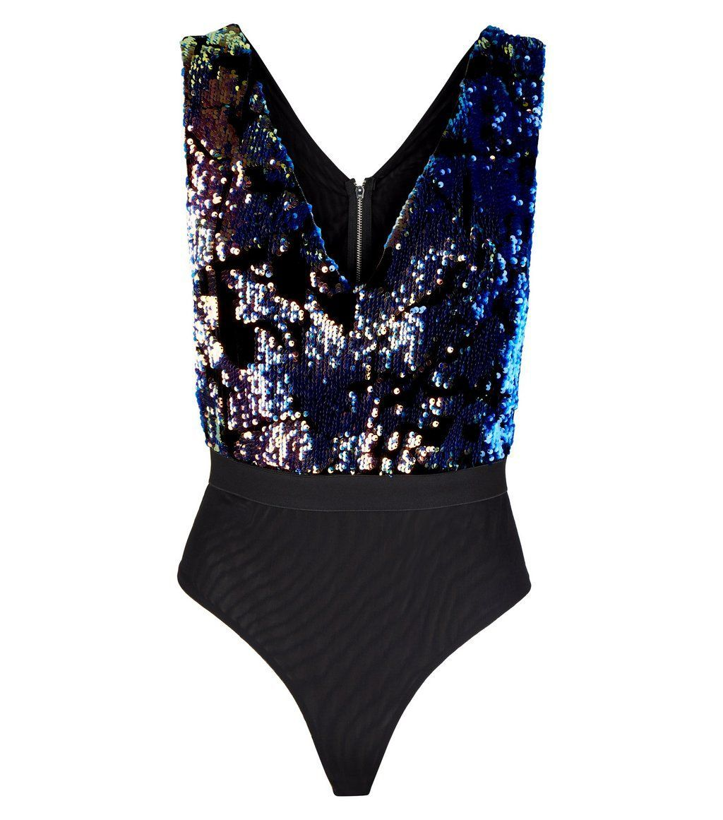 35eaa6783c Cameo Rose Black Sequin Velvet Bodysuit