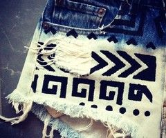 bleached, decorated shorts.