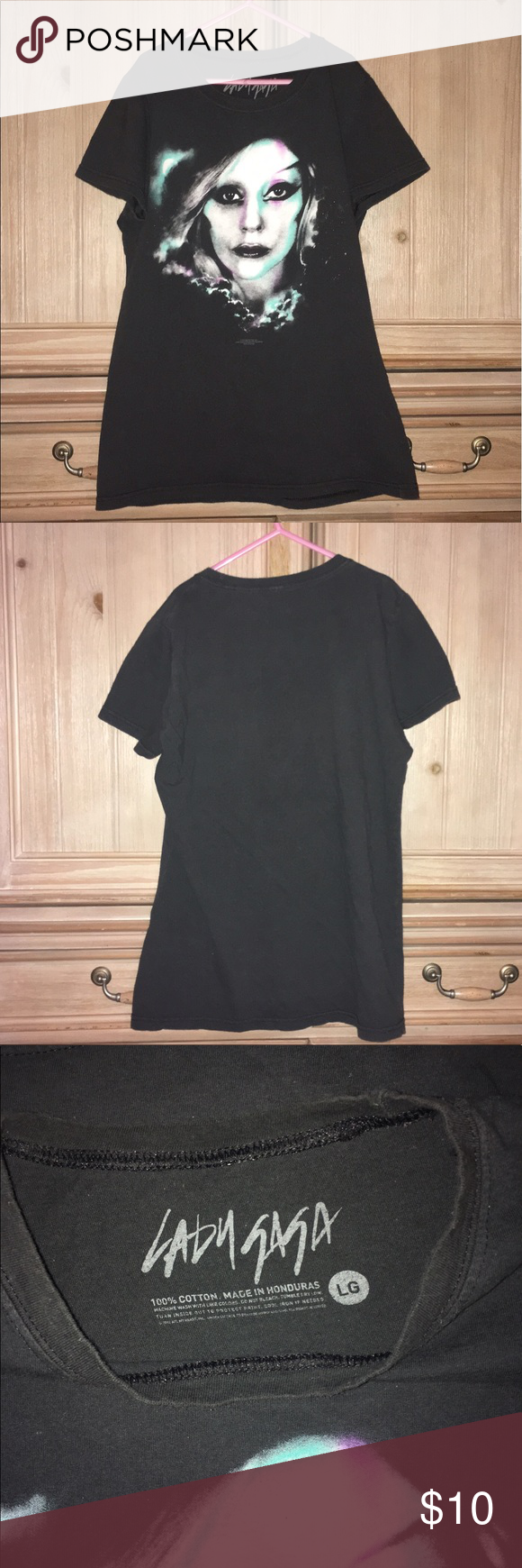 Lady Gaga Girls T Sz L Lady Gaga Girls T Sz L - see pics for measurements - 100% cotton- good used condition- no holes, tears or stains- comment with any questions- open to offers- thanks for looking! Lady Gaga Shirts & Tops Tees - Short Sleeve