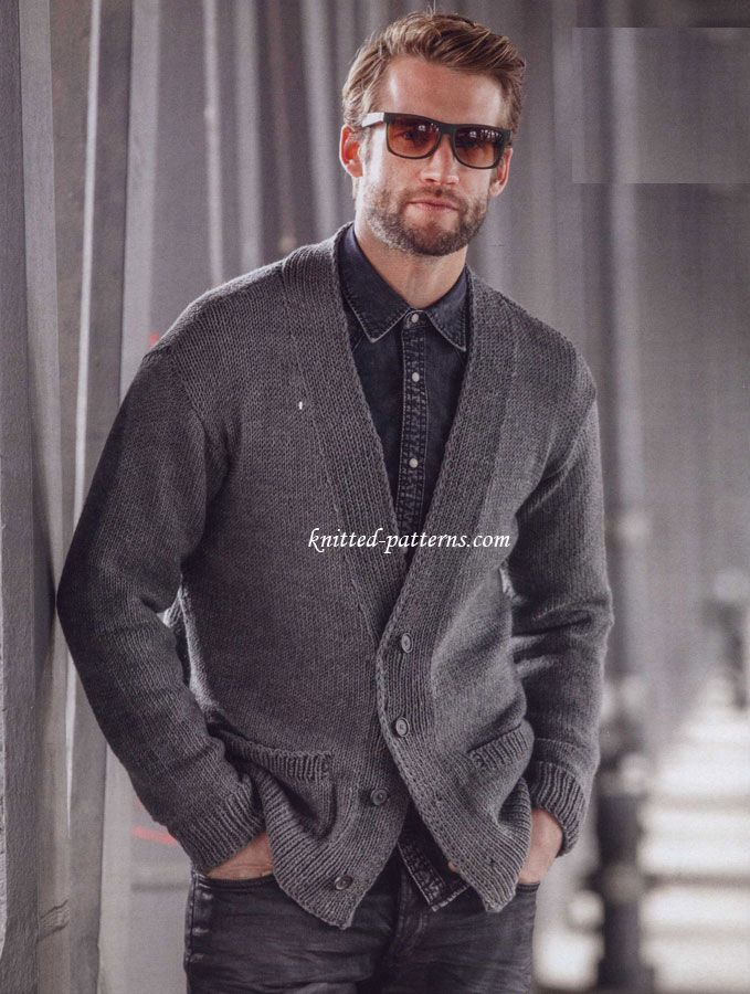 Classic Cardigan Free Knit Pattern Knitting For Men Pinterest