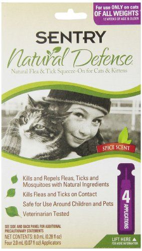 Sentry 4 Count Natural Defense Flea And Tick Squeeze On For Cats Flea And Tick Cat Fleas Cats And Kittens