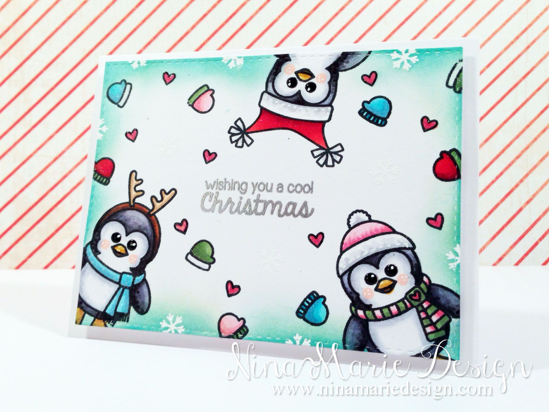 Sunny Studio Bundled Up Cool Christmas Wishes Penguin Christmas
