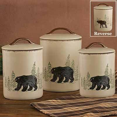 The Bear And Moose Canister Set Will Naturally Enrich Your Rustic Kitchen  Decor With Adorable Wildlife