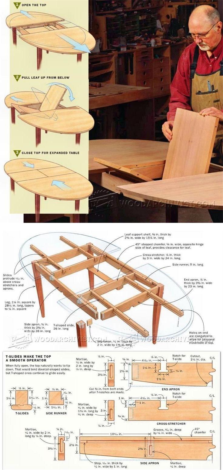 Expanding Table Plans - Furniture Plans and Projects   WoodArchivist.com