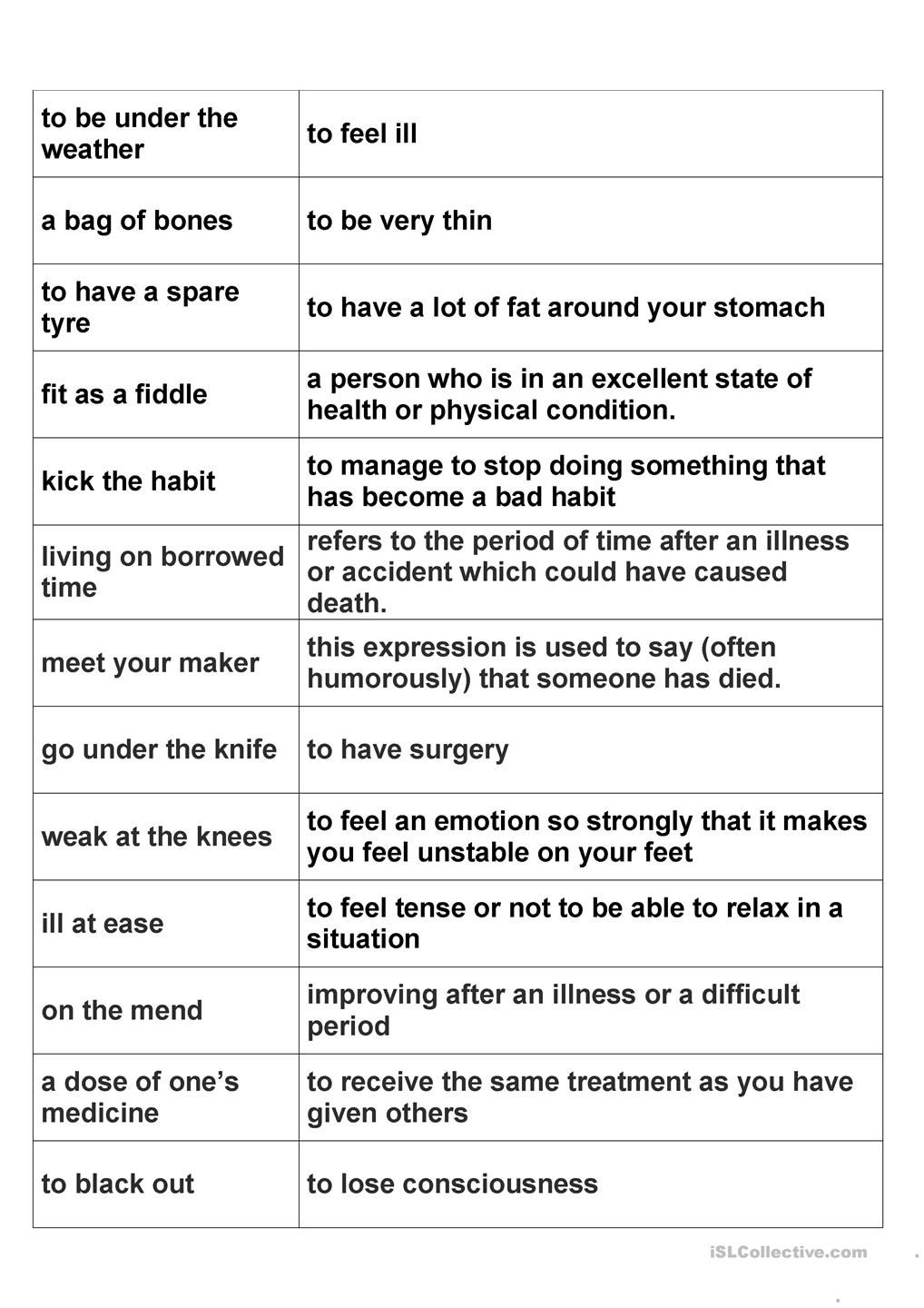 Health idioms | ESL worksheets of the day | Pinterest | English ...