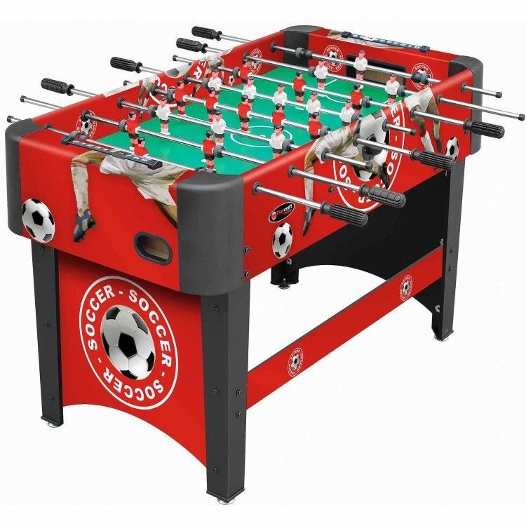 Foosball Table w Soccer Field and Crowd Graphics Red