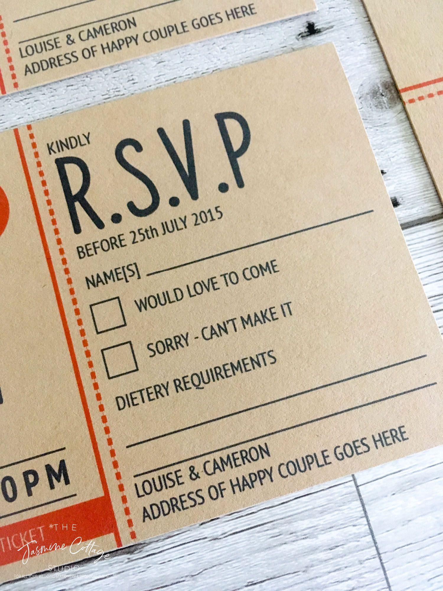 Wedding Invitation, Ticket Invite, Retro Wedding Invite, Retro ...