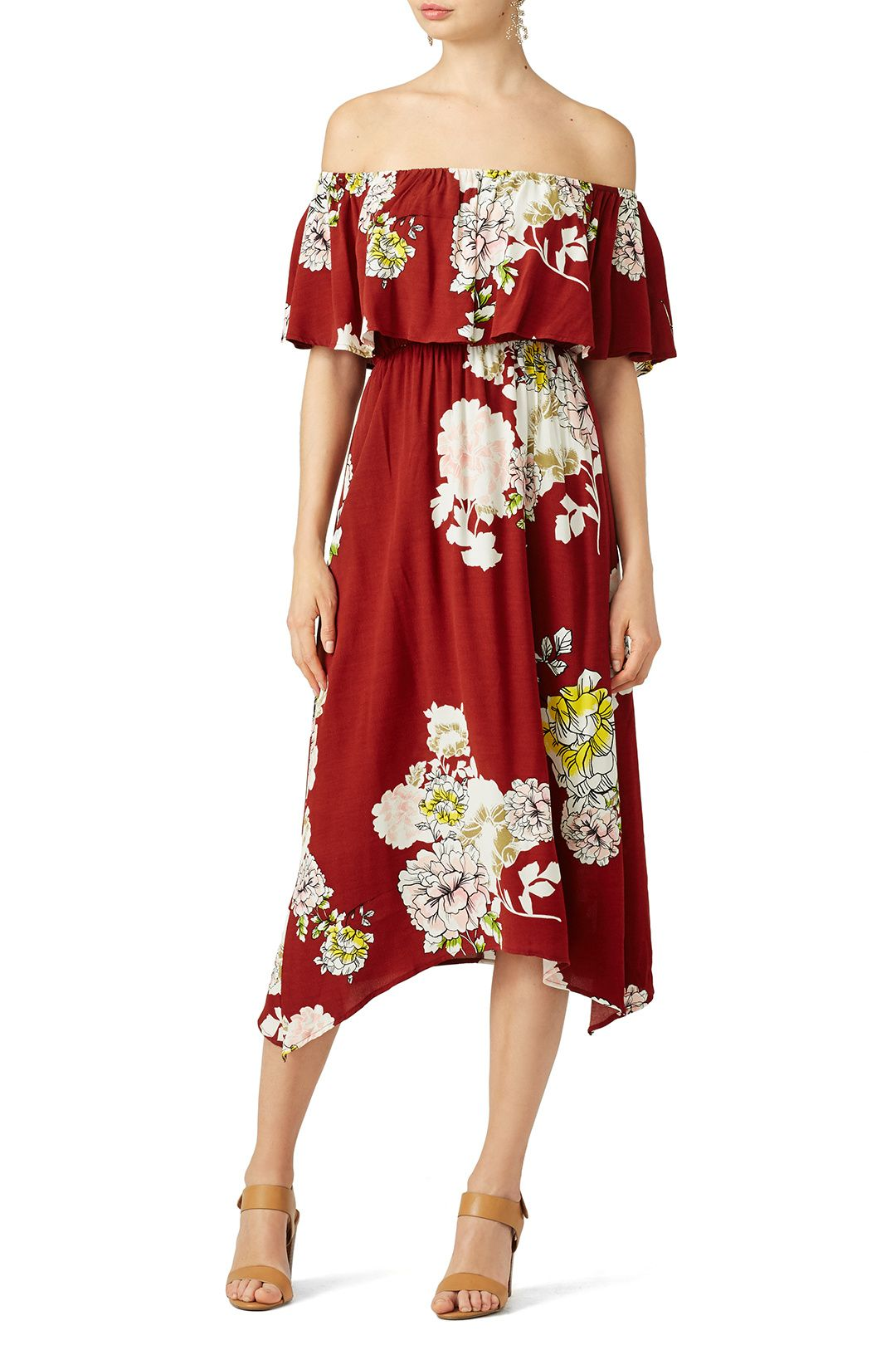0cc314f52e0d Rent Red Rust Floral Off Shoulder Dress by ASTR for  30 only at Rent the  Runway.