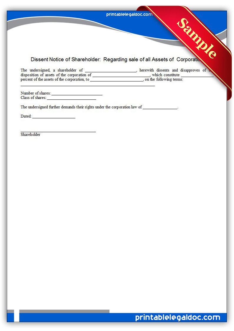 Free Printable Dissent Notice Of Shareholder Regarding Sale Of All