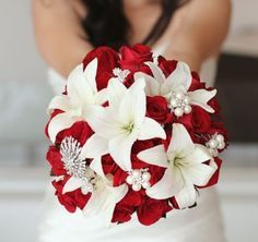 Red And White Bridal Bouquet Asiatic Lilies Roses