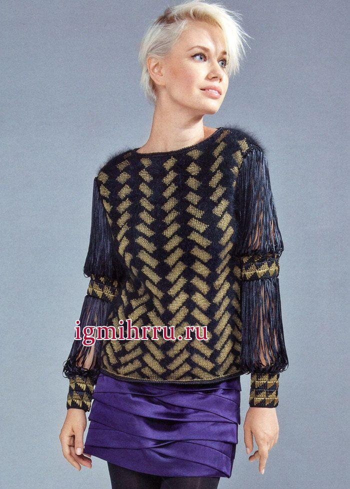 Для вечернего выхода в свет. Пуловер из ангоры, с жаккардовыми узорами и оригинальными рукавами. Вязание спицами и крючком