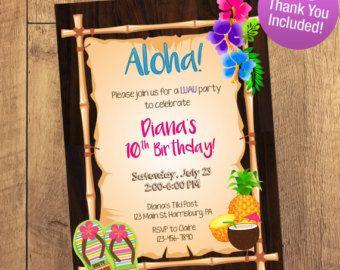 Luau Invitation Luau Birthday Invitation Luau Party Hawaiian