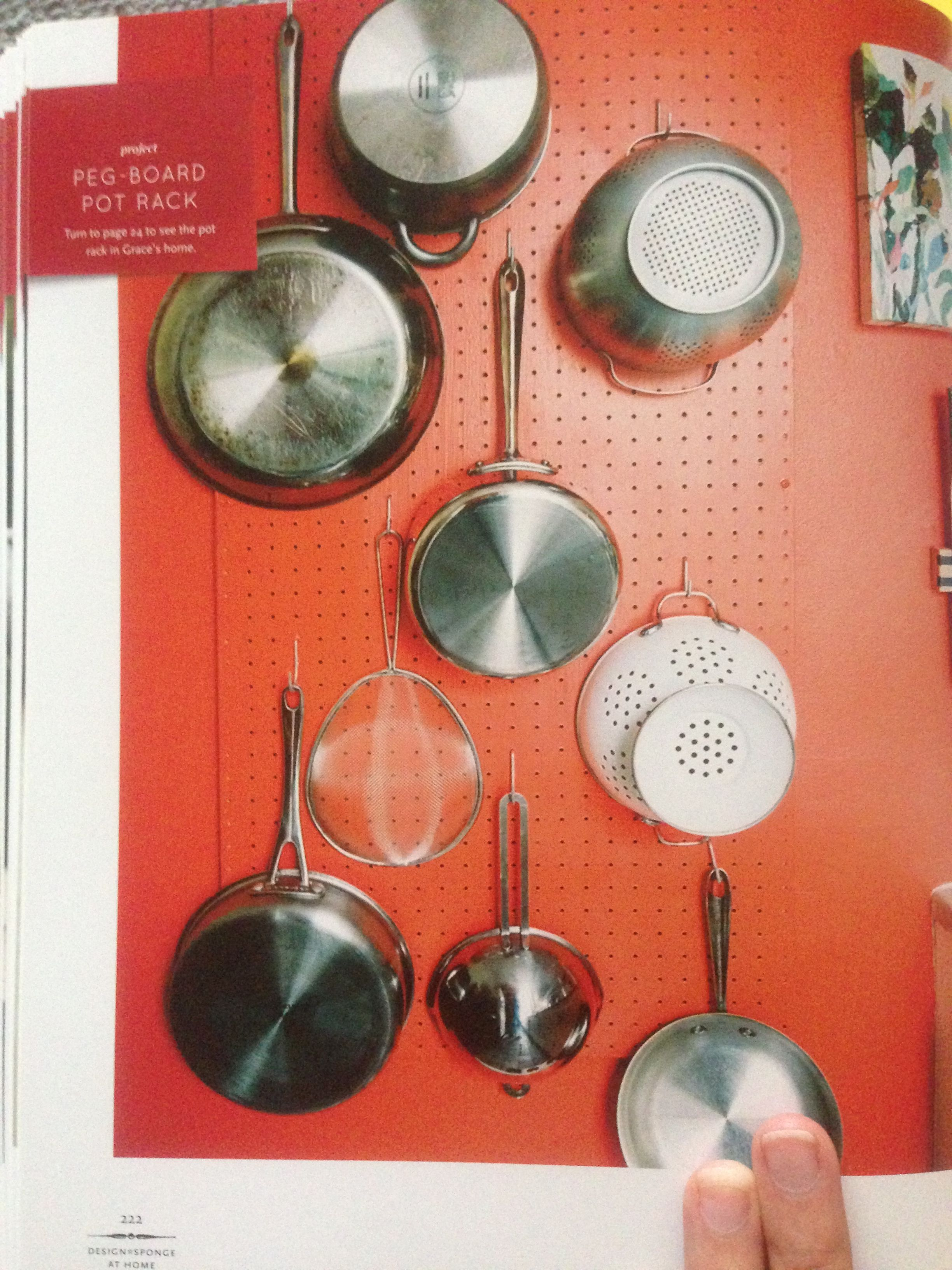 pegboard pot holder for the kitchen. | Abby\'s Apartment | Pinterest