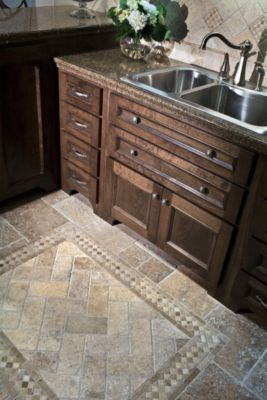 Beautiful tile floor. Think this is a kitchen, but would be pretty in bath