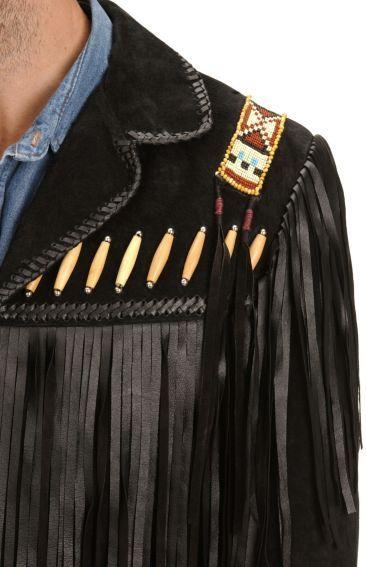 9d514cee338 Scully Black Bone Beaded Fringe Leather Jacket - Sheplers