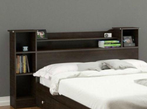 Modern Bookcase Headboard Full Queen Storage Shelves Reversible