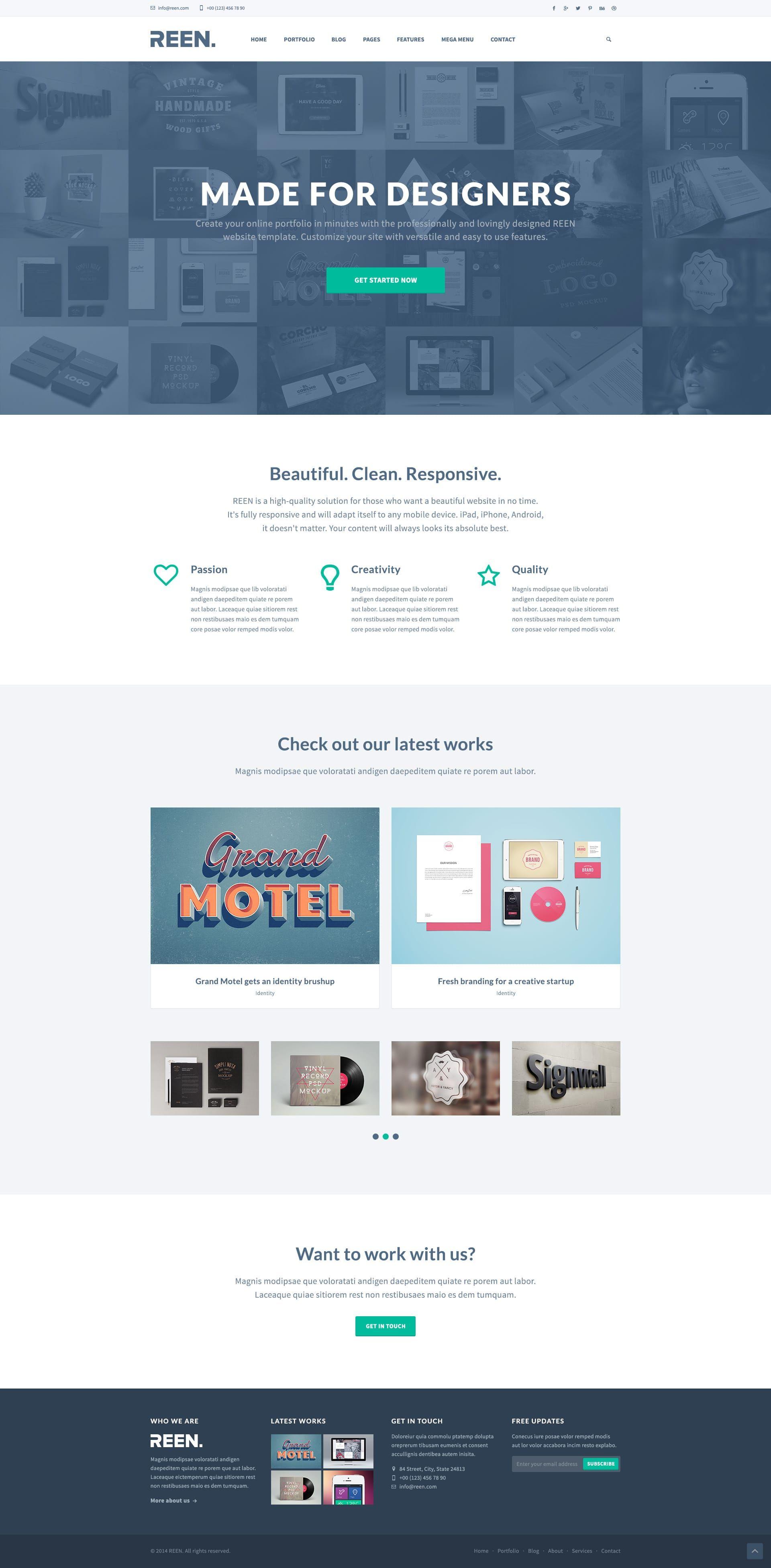 Designer Portfolio Bootstrap Website Template - FreebiesTeam #free ...