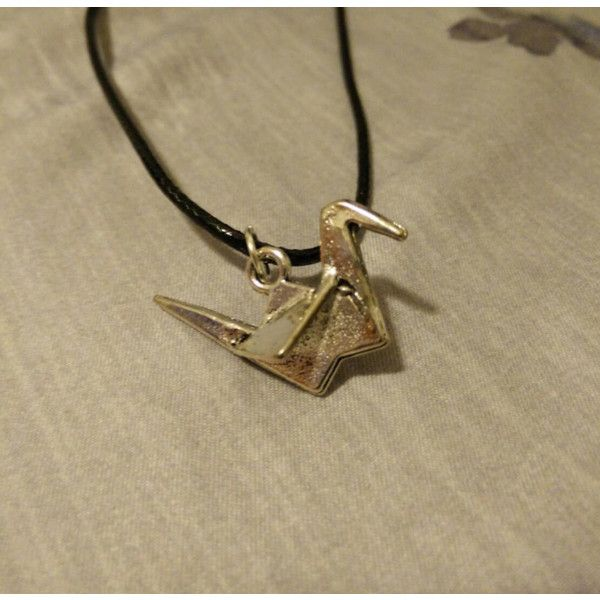 Ravens necklace the 100 paper crane made by finn 8 liked on ravens necklace the 100 paper crane made by finn 8 liked on polyvore mozeypictures Choice Image
