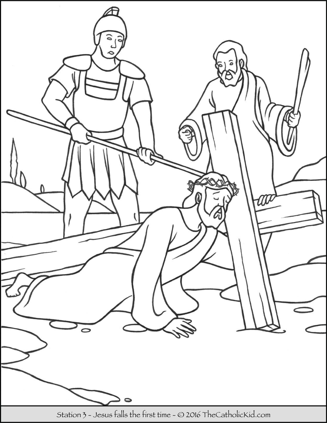 Coloring pages jesus on the cross - Stations Of The Cross Coloring Pages 3 Jesus Falls The First Time