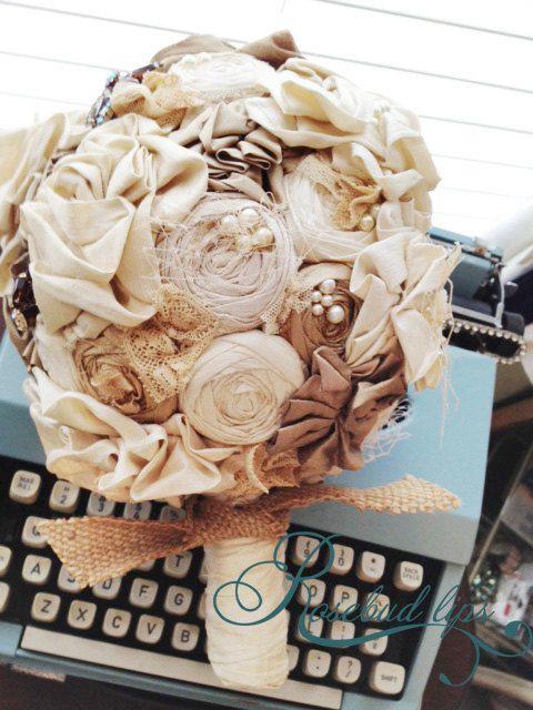 Handmade Bridal Bouquet, Weddings, Vintage Wedding, Fabric Flowers ...