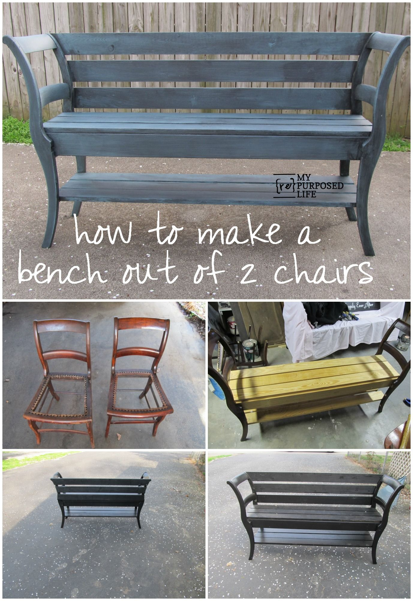 Info's : How to make a double chair bench using repurposed chairs. The step by step tutorial pictures would not open, but this is good enough for me to see the magic of a bench made from two chairs.I love this bench