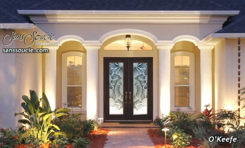 Okeefe Floral Pattern 3d Entry Glass Doors Glass Front Doors