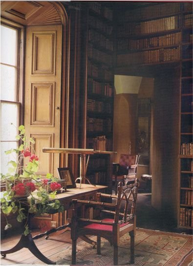 A corner (2) of the Library at Tullynally in County Westmeath, Ireland. The Library in the 17th-century house was created in the early nineteenth century and contains about 6,000 books.