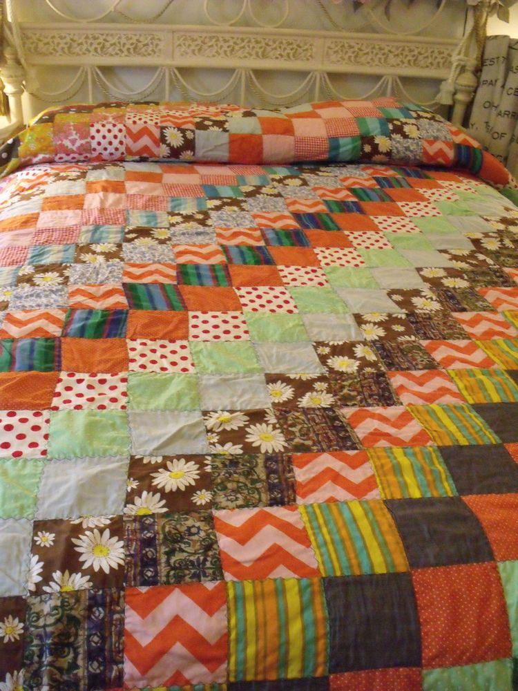 Colorful Multi Patchwork Hand Made QUILT Blanket Machine Twin/FULL Vtg BOHO