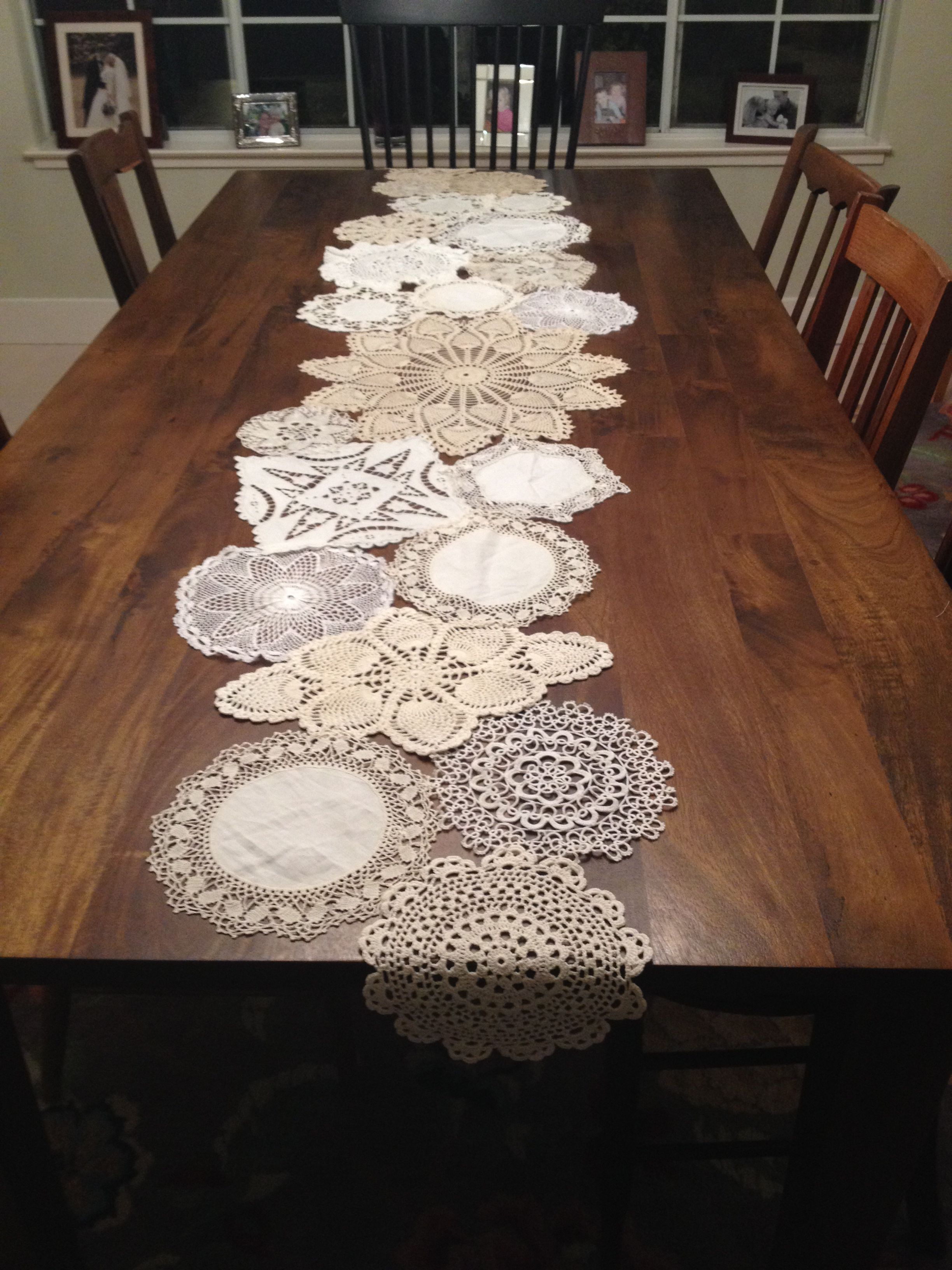 Doily Table Runner For The Home Doilies Crafts